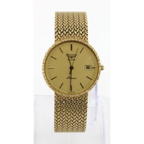 30 - Gents 9ct cased Longines Quartz Presence wristwatch on a integral 9ct bracelet, watch working when c...