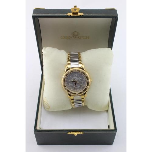 54 - Coinwatch Australian Florin mens coin wristwatch. The dial being a genuine Australian Florin dated 1...