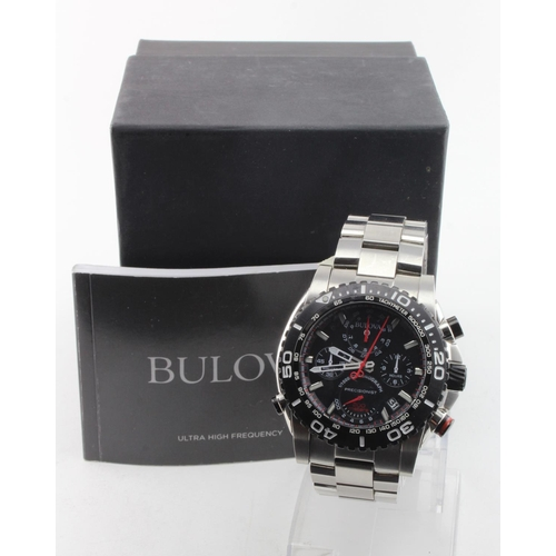 60 - Gents Bulova precisionist 1/1000 chronograph wristwatch. The black dial with four subsidiary dials a...