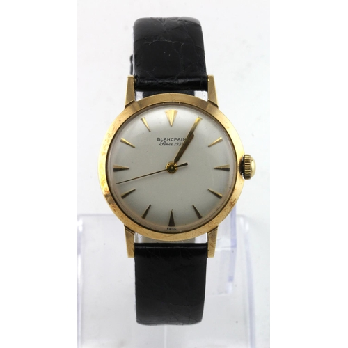 7 - Gents 9ct cased Blancpain wristwatch, the case hallmarked Birmingham 1960. The signed cream dial wit...