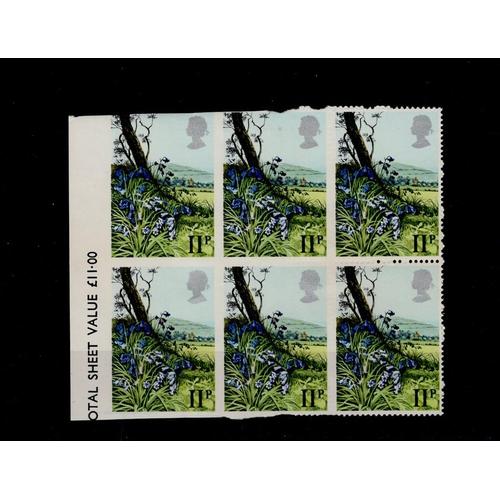 36 - GB - SG1081 Spring Wild Flowers 11p (1979) block of 6 (2 rows of 3). Vertical perfs missing between ...