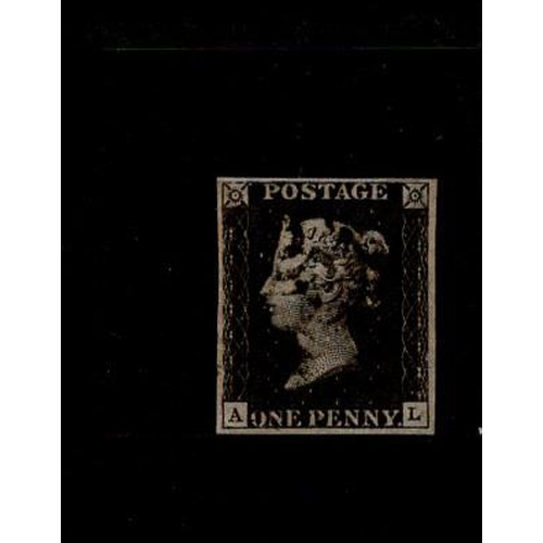 43 - GB 1840 1d Penny Black (A-L) identified as likely Plate 3, apparently 4 margins but there may have b...