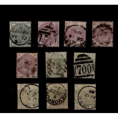 51 - GB 1883-84 lilacs and greens set, SG.187-96, sound used. (10 stamps)....
