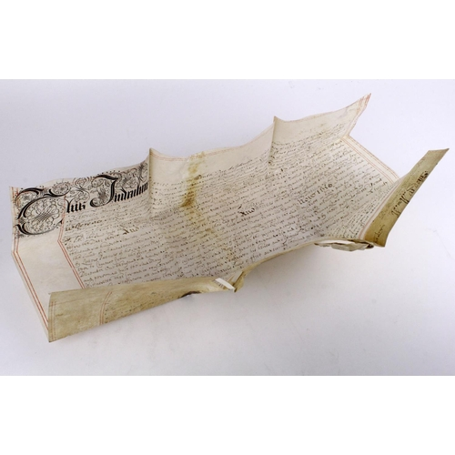 650 - 17th Century manuscript indenture document, dated 1684, relating to the stop of the Exchequer, the l...
