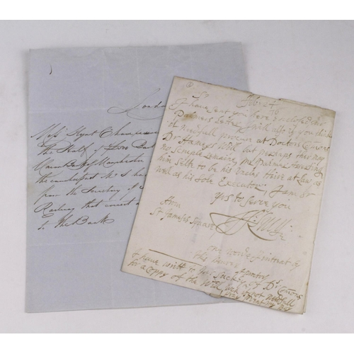 651 - 17th Century manuscript letter to Clayton & Morris the Scriveners and Bankers at 'Old Jurie', from S...