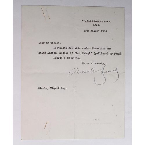 665 - Arnold Bennett (1867-1931), Novelist, typed letter signed, one page 27th August 1928 to Stanley Tiqu...