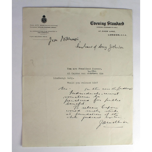 672 - Aviation, Jim Mollison (1905-1959), hand-written note on typed letter from Evening Standard, concern...
