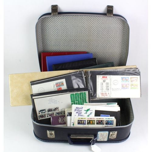 48 - GB - suitcase of material inc a green album of GB stamps GV onwards, various FDC's inc Special Hands...