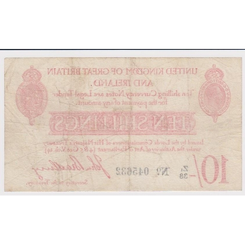 10 - Bradbury 10 Shillings issued 1915, LAST SERIES prefix 'Z1', serial Z1/38 045632 (T13.2, Pick348a) pi...