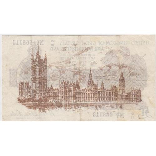 13 - Warren Fisher 1 Pound issued 1927, rare LAST SERIES, Great Britain & Northern Ireland issue, serial ...