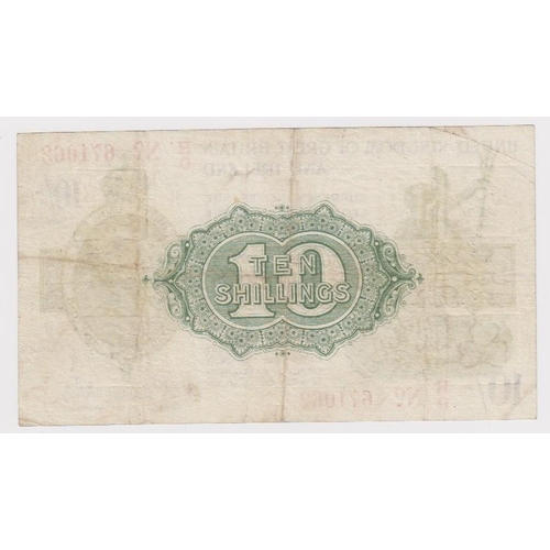 15 - Warren Fisher 10 Shillings issued 1919, LAST SERIES serial H/9 671062, No. with dash (T26, Pick356) ...