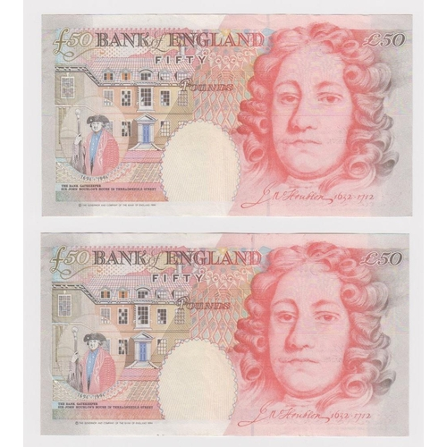 17 - Bailey 50 Pounds (2) issued 2006, serial R41 253774 and R42 304744 (B404, Pick393a) good EF