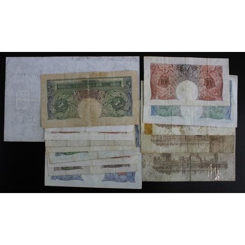19 - Bank of England & Treasury (15), Bradbury 1 Pound T16 (2) issued 1917, Warren Fisher 1 Pound T24 LAS...