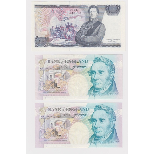 24 - Bank of England (3), a set of 5 Pounds all FIRST RUN notes, Somerset RA01 010426 (B345) Uncirculated...