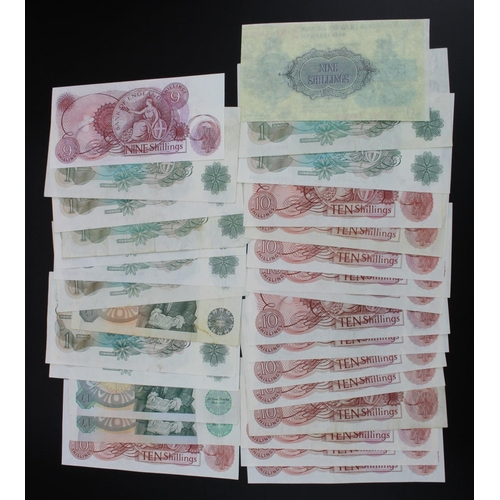 26 - Bank of England (30), a collection of 10 Shillings and 1 Pound notes, includes a rare Fforde 10 Shil...
