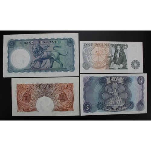 27 - Bank of England (4), Beale 10 Shillings (B266) good EF, O'Brien 5 Pounds (B277) about EF, Hollom 5 P...