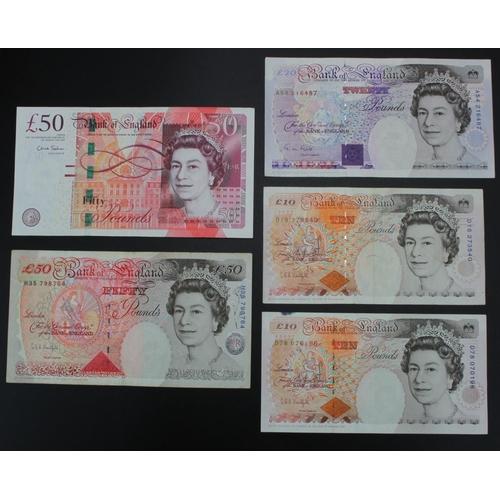 30 - Bank of England (5), Kentfield 50 Pounds, 10 Pounds (2), Salmon 50 Pounds, Gill 20 Pounds, mixed gra...