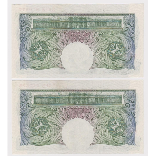 35 - Beale 1 Pound (2) issued 1950, a consecutively numbered pair of scarce REPLACEMENT notes, serial S61...