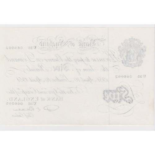 37 - Beale 5 Pounds dated 10th April 1951, serial U35 066092, a consecutively numbered note to the follow...