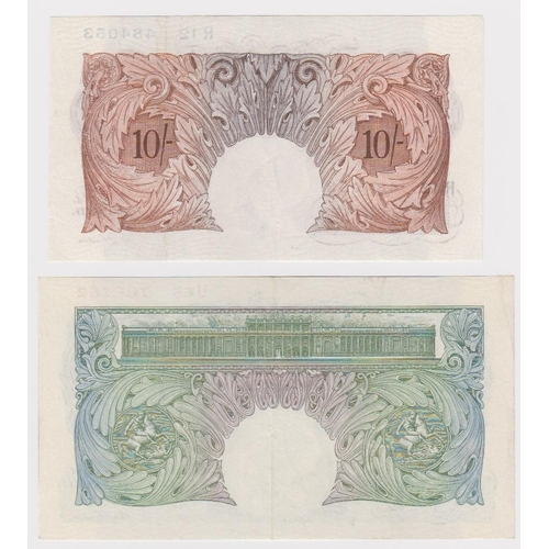 41 - Catterns (2), 1 Pound issued 1930 serial U65 706762 (B225, Pick363b), 10 Shillings issued 1930 seria...