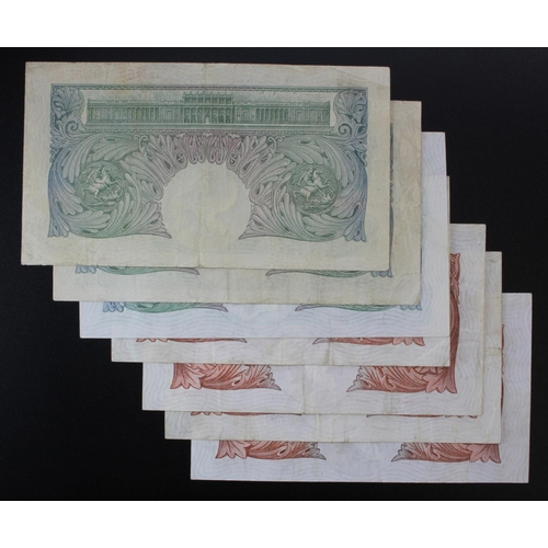 42 - Catterns (7) issued 1930, 10 Shillings (4) prefixes N11, O06, O81 and R14(B223, Pick362b), 1 Pound (...