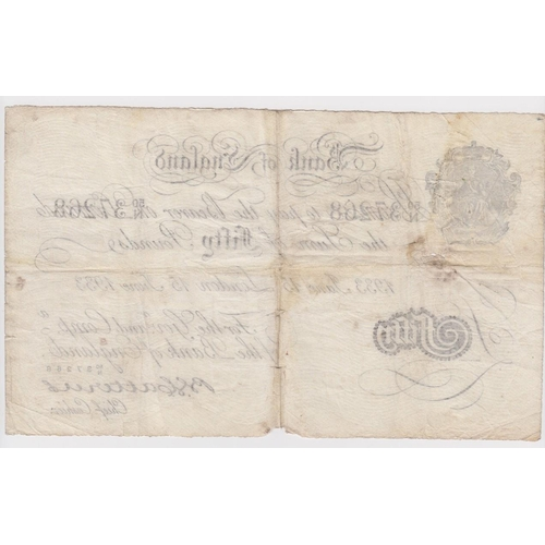 43 - Catterns BERNHARD note, 50 Pounds dated 15th June 1933, serial 50/N 37268 (B231 for type) holes/spli...