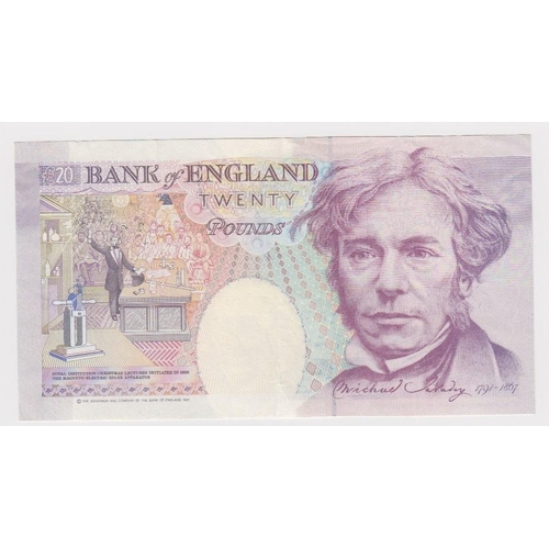 47 - ERROR Kentfield 20 Pounds issued 1991, major misprint missing portrait of Queen, serial E17 038409 (...