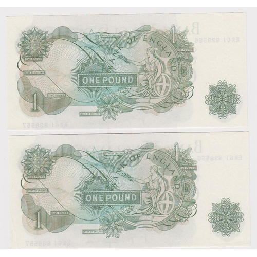 48 - ERROR Page 1 Pound (2) issued 1970, a very scarce pair of IDENTICAL mismatched serial numbers, top s...