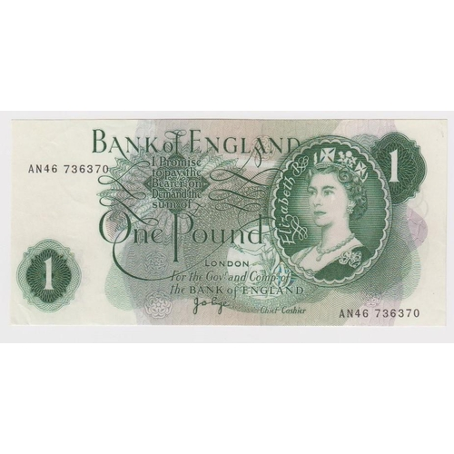 49 - ERROR Page 1 Pound issued 1970, an exceptional major front on back overprint on a FIRST SERIES note,...