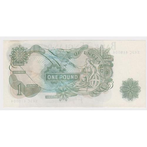 51 - ERROR Page 1 Pound issued 1970, vertical ink streak, serial X43C 418004 (B320, Pick374g) light handl...