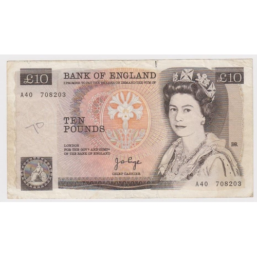 54 - ERROR Page 10 Pounds issued 1975, major overprint front on back of a FIRST SERIES note, serial A40 7...