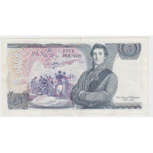 57 - ERROR Somerset 5 Pounds issued 1980, error missing signature, serial DU58 445420 (B343a, Pick378d) V...