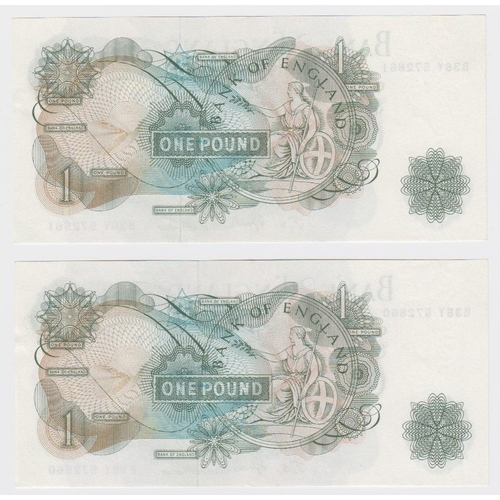 59 - Fforde 1 Pound (2) issued 1967, a consecutively numbered pair of FIRST SERIES notes, serial B38Y 572...
