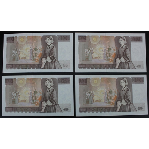 61 - Gill 10 Pounds (4) issued 1988, a consecutively numbered run, serial JN15 513033 & JN15 513036 (B354...