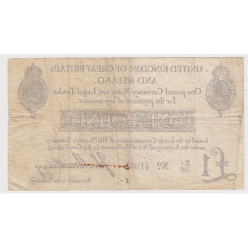 8 - Bradbury 1 Pound issued 23rd October 1914, serial E1/36 41963 (T11.2, Pick349a) a few pinholes, rust...