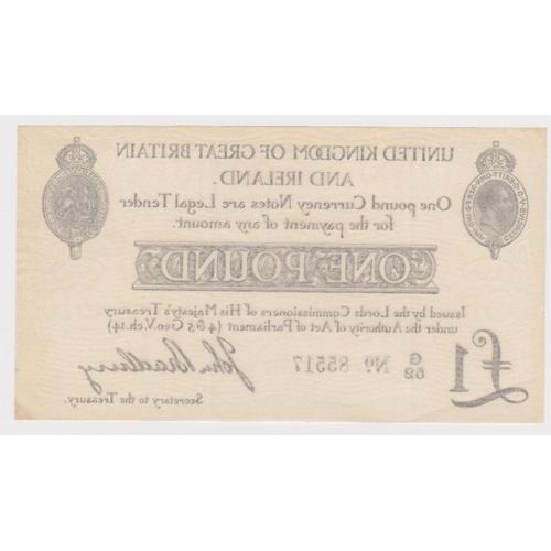 9 - Bradbury 1 Pound issued 23rd October 1914, serial G/52 85517 (T11.1, Pick349a) nice crisp EF
