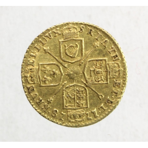 1242 - Quarter guinea 1718 better than VF  with a couple of light scuffs on obverse under magnification...
