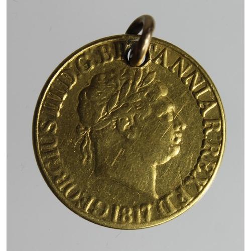 1244 - Sovereign 1817 holed VG...
