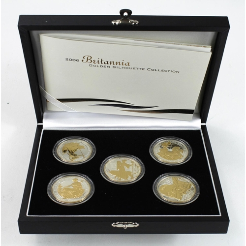 1264 - Britannia Golden Silhouette Collection 2006, a set of five selectively gilt and frosted silver proof...