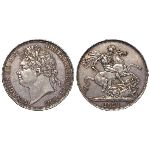 1271 - Crown 1821 Secundo, S.3805, lightly toned EF, a few hairlines....