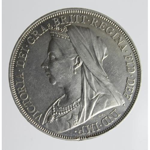 1284 - Crown 1893 LVI, lightly cleaned EF, edge knock (ex-mount?)...