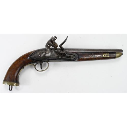 13 - Belgium early 19th Century Sea Service, Flintlock Pistol, swan neck cock. Belgian proof to barrel. R...