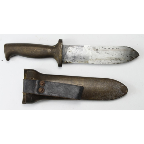 15 - British Divers knife in its special scabbard with leather frog. Knife handle stamped 'C.E.Heinke & C...