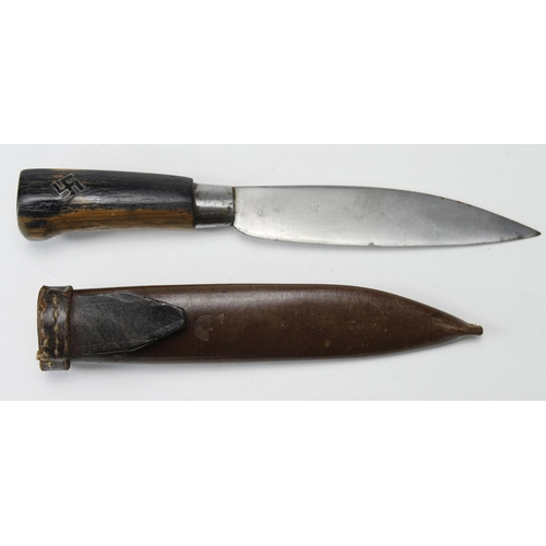 55 - German Nazi youth knife in leather scabbard. Blade maker marked 'Toko Rotterdam', scabbard stamped '...