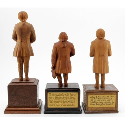 369 - Suffolk interest. Three hand carved wooden figures, depicting interesting characters in history, eac...