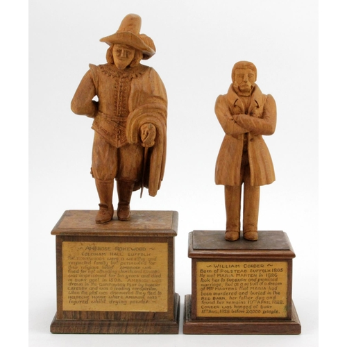 370 - Suffolk interest. Two hand carved wooden figures, depicting interesting characters in history, each ...