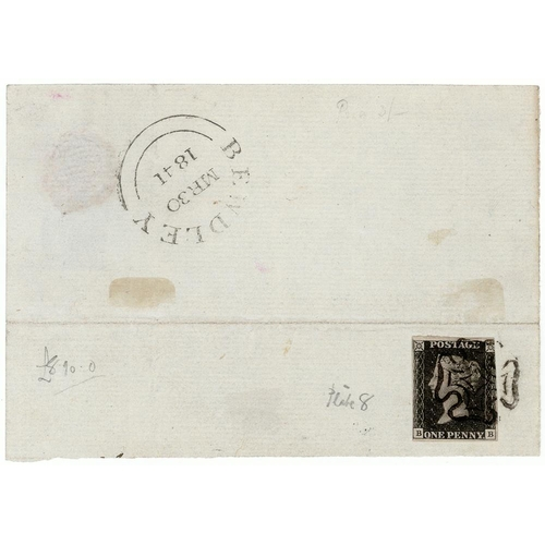 12 - GB - 1840 Penny Black Plate 8 (B-B) three margins, tied with good black MX to small part cover, CDS ...