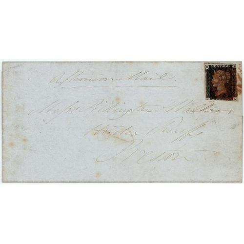 14 - GB - 1840 Penny Black Plate 8 (F-A) on wrapper, three good margins, clear circular date stamp, Lanca...