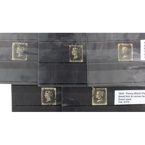 15 - GB - 1840 Penny Blacks all with faults, Plate 1b (Q-K) four margins, heavy vertical crease, fair use...
