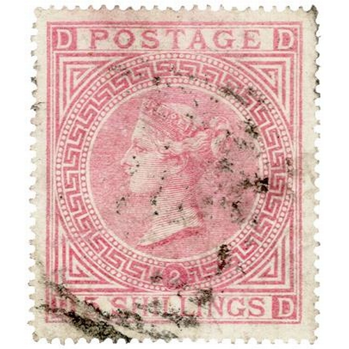 18 - GB - 1874 QV 5/- pale rose, Plate 2 (D-D) SG127, light bared cancel, good perfs and centring, cat £1...
